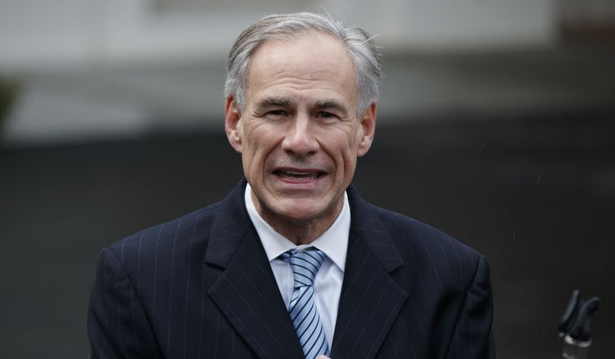 Texas Gov. Greg Abbott talks to reporters outside the White House in Washington in this March 24, 2017, file photo. (AP Photo/Evan Vucci, File)