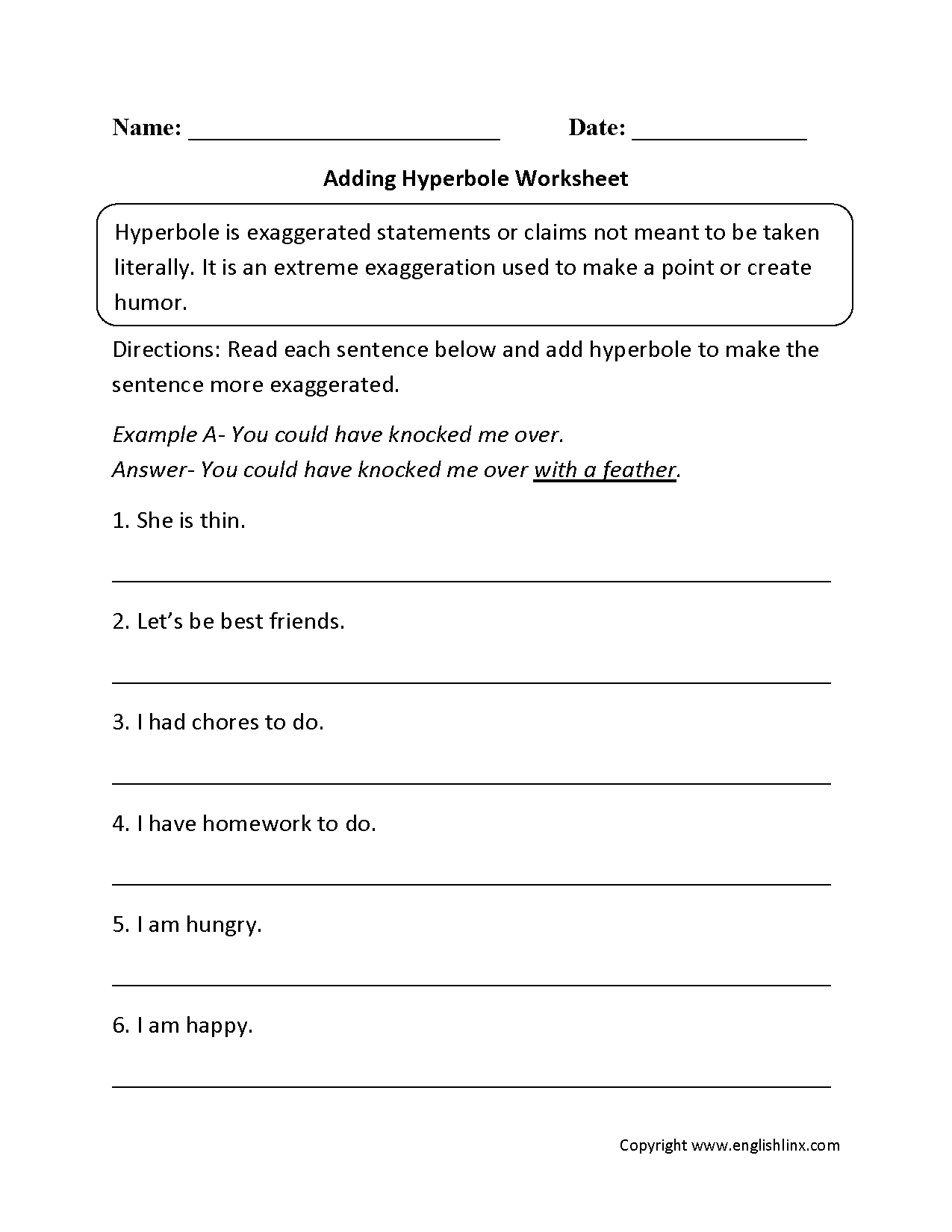 Adding Hyperbole Worksheet