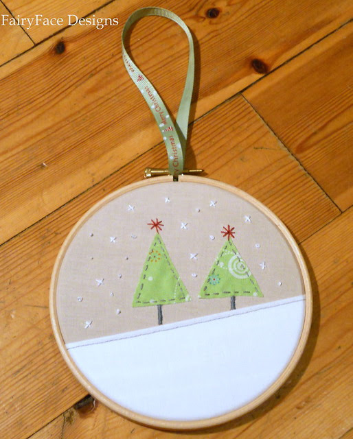 Christmas trees hoop ornament