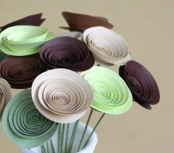 Rustic Woodland Wedding Centerpiece - Mini Paper Flowers Centerpiece - Alternative Eco Friendly Centerpiece - Browns and Greens