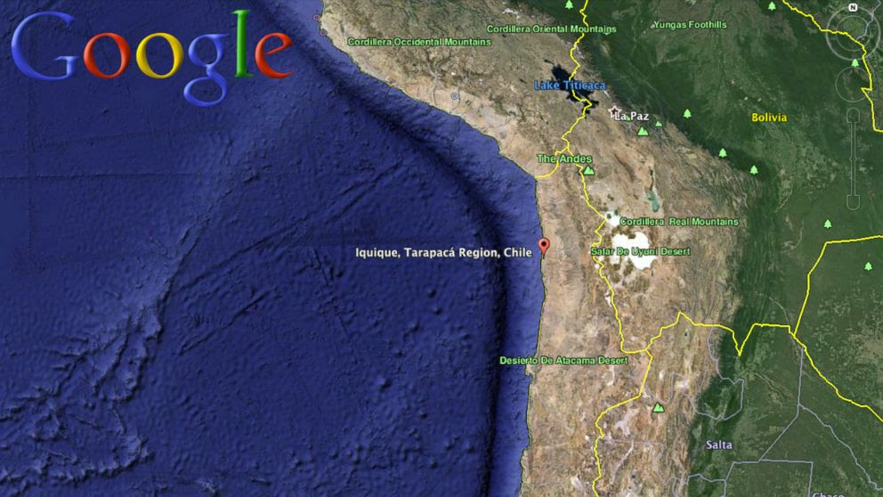 PHOTO: A map of the Pacific coast of Chile, where an earthquake was reported on April 1, 2014.