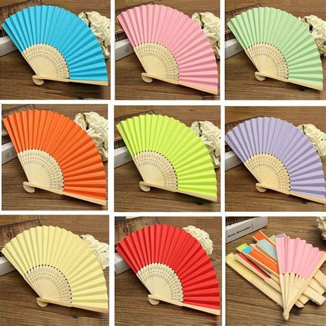 Candy Color Pocket Folding Bamboo Fan Paper Hand Fans