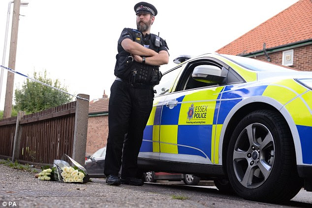 Police remain on the scene of the attack, which took place in a house on the junction of Harwich Road with Tara Close