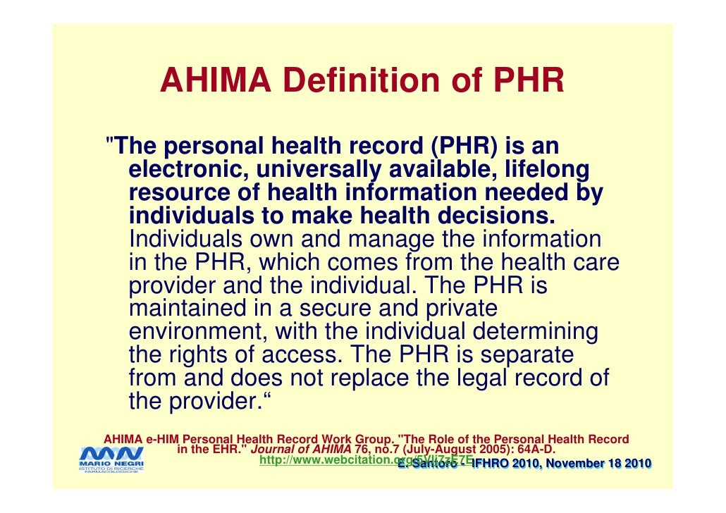 Electronic Personal Health Record Definition