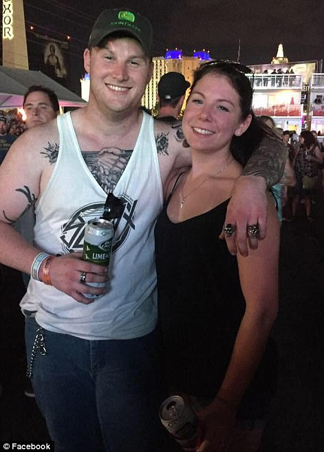 Jordan McIlldoon (left) was reportedly among the 58 people who lost their lives during the mass shooting. McIlldoon is pictured above in Las Vegas last year, with a woman who appears to be his girlfriend
