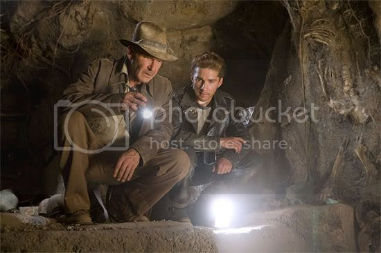 Indiana Jones 4 - Harrison Ford and Shia Labeouf in a cave.