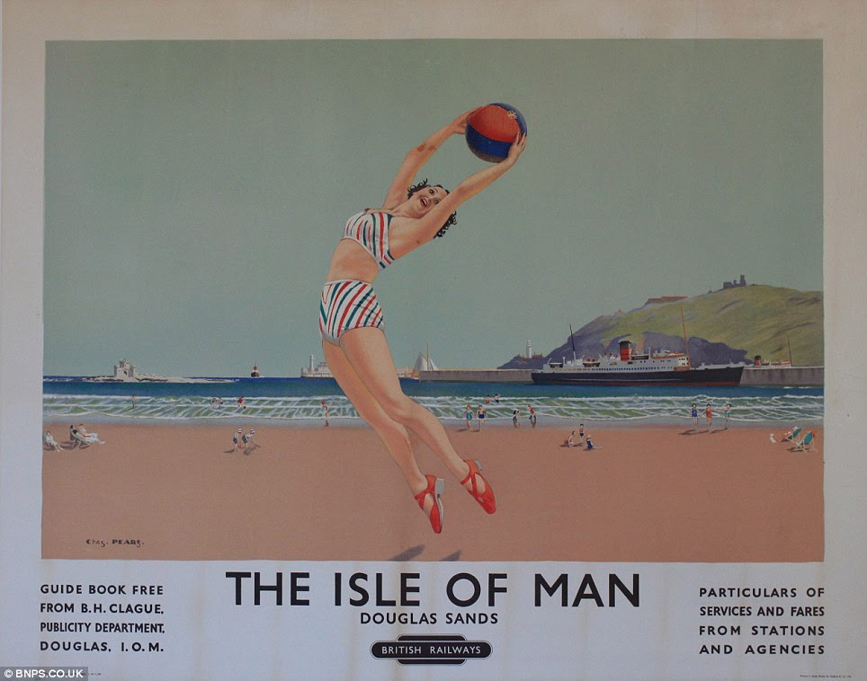 Retro: The posters, which advertise locations around the UK which could be visited by rail in the 1940s, are all in near perfect condition