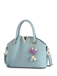 Pendant Metallic Solid Color Tote Bag