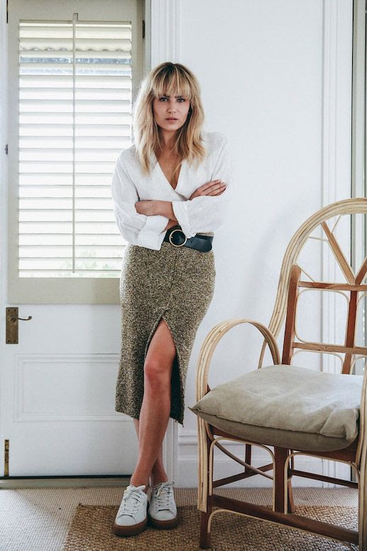 Le Fashion Blog Wrap Blouse Midi Skirt White Sneakers Via Brooke Testoni
