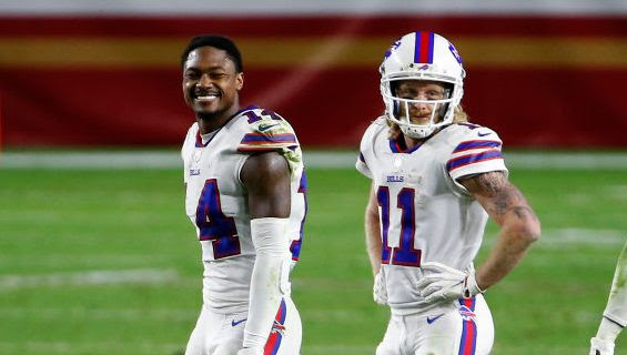 Bills receiver Stefon Diggs (not Cole Beasley) reacts to non-vaccinated player forfeiture rule