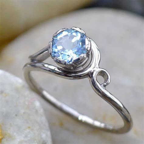 Aquamarine & Diamond Art Nouveau Style Ring   Gemstone