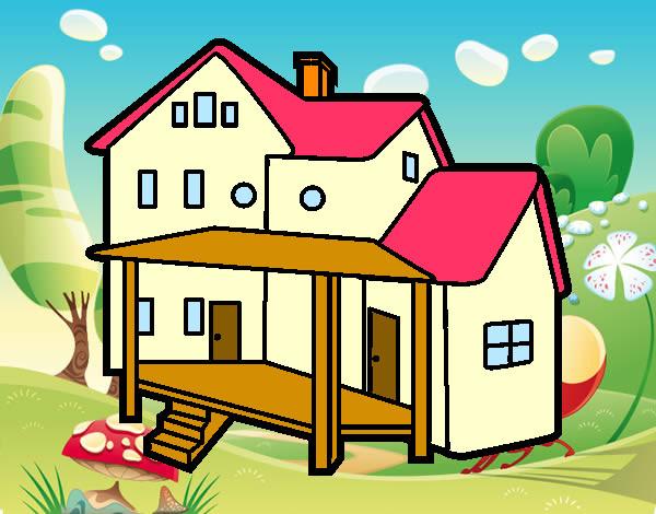 Dibujo De Casa Con Porche Pintado Por Francisco3 En Dibujosnet El