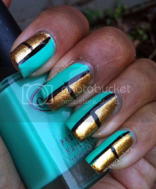 Lacquer Lockdown - Orly Glitz & Glamour, Color Club Age of Aquarius, Kiss Nail Art Striper Black, easy nail art, simple nail art, turquoise mani, gold mani, scotch tape mani