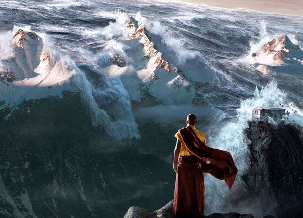 A Tibetan monk watches as the Himalaya Mountains are about to be engulfed by a deluge of water in the 2009 movie, 2012.