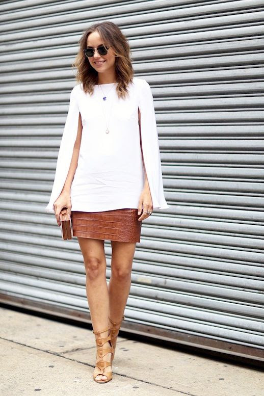 Le Fashion Blog Blogger Street Style Sunglasses Luxe Neutrals White Cape Sleeve Top Brown Clutch Caramel Croc Embossed Short Skirt Nude Gladiator Style Heeled Sandals Nyfw Via Popsugar