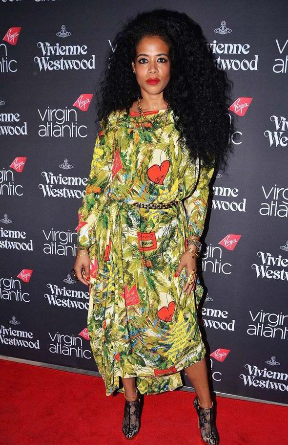 Kelis Vivienne Westwood Virgin Atlantic Uniform Launch Event Vivienne Westwood Green Printed Dress and Nicholas Kirkwood Lace Platform Booties