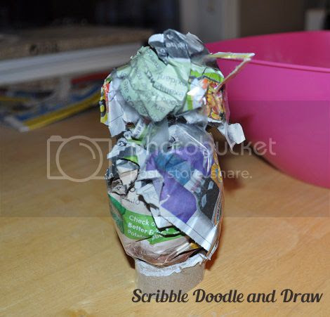 kids crafts-paper mache love bird- step-1-roll two balls of newspaper