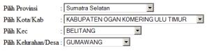 Aplikasi Pilih lokasi di Indonesia berbasis web