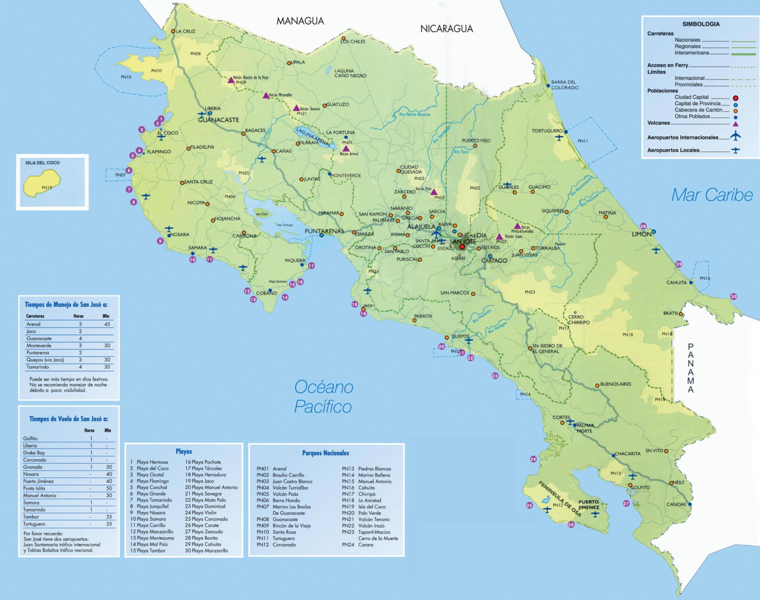 Carte Satellite Costa Rica
