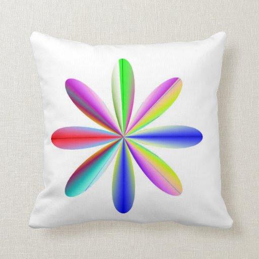 Rainbow Atomic Throw Pillow