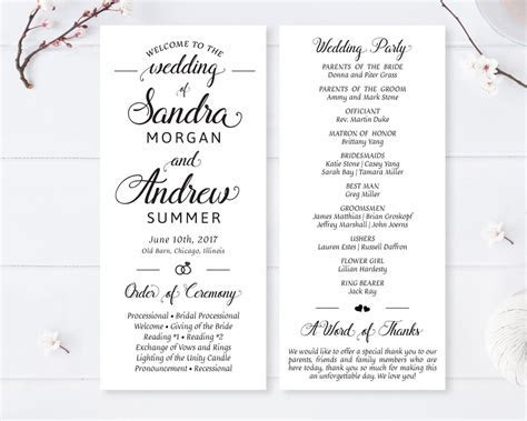 Simple Wedding Programs   LemonWedding