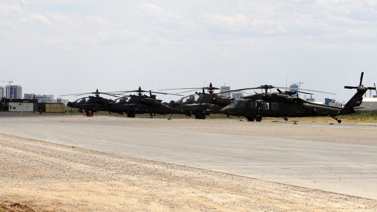 U.S. Army helicopters lined up at an airfield at a U.S. base in the vicinity of Erbil, in Iraqi Kurdistan. (Photos: Nolan Peterson/The Daily Signal)