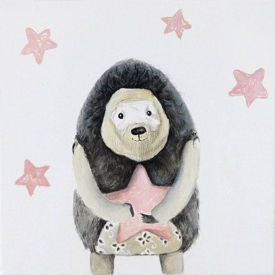 The hedgehog art, soft art toy, children room decor, woodland animal, pink stars, kids wall art, gender neutral painting