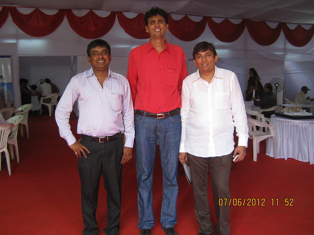 Milind Jhamvar (Financial Consultant) and Ajay Patni (A V Associates, Project Consultant) at the Launch of Sneha Corp's Homes 1 BHK & 2 BHK Flats behind Shell Petrol Pump near Meghvarsha at Warje Pune 411052
