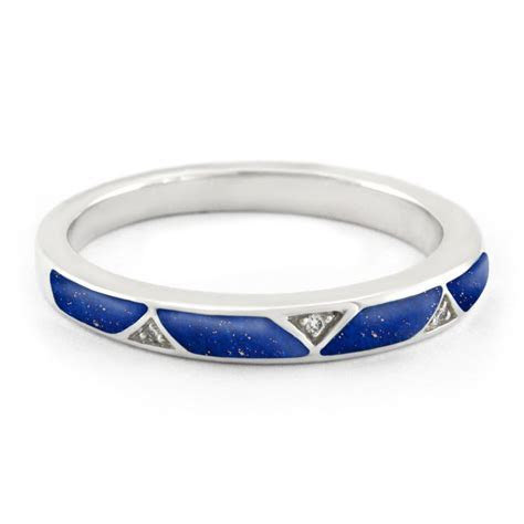 Unique Diamond and Lapis Lazuli Wedding Band. This is the