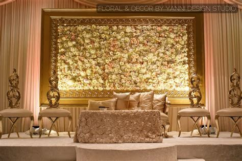 Muslim/Indian wedding reception decor with a grand floral