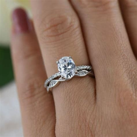 1.25 Ctw Oval Art Deco Swirl Wedding Set, Solitaire Ring