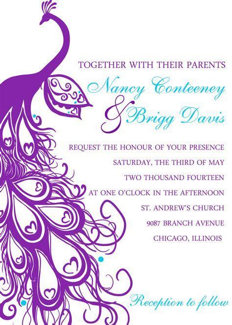 Printablebride.com the blog: Peacock wedding invitation