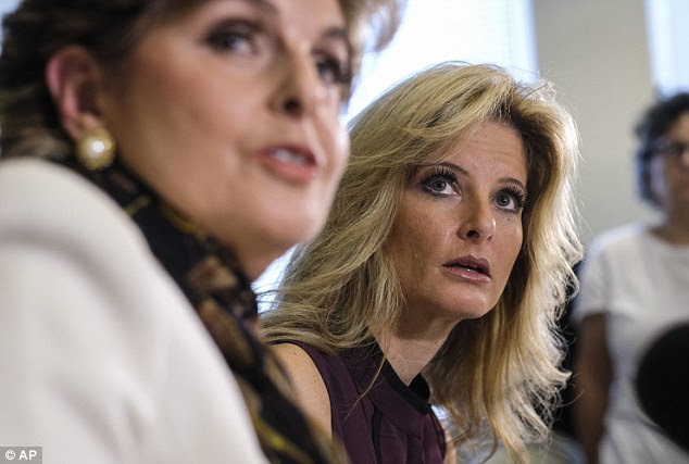 Not acceptable: Trump then allegedly asked Zervos to lay down on the bed saying he wanted to watch 'telly telly,' and began 'thrusting his genitals' at her