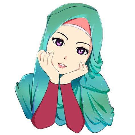 gambar kartun muslimah lucu jilbab hijau kartun muslimah