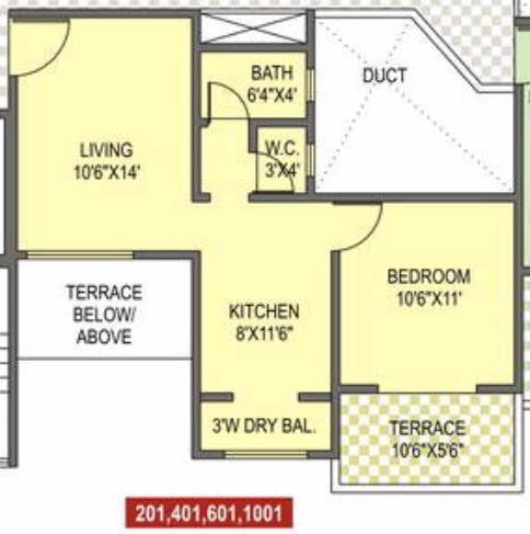 1 BHK Flat - 440 Carpet + 58 Terrace - Even Floors - A1 & A2 Buildings - Sunshine Joy Pirangut Chowk, Pune 412 108