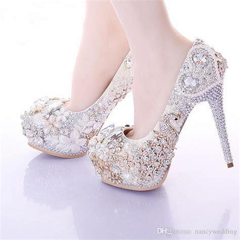2017 Luxury Ivory High Heels Rhinestone Platform Pumps