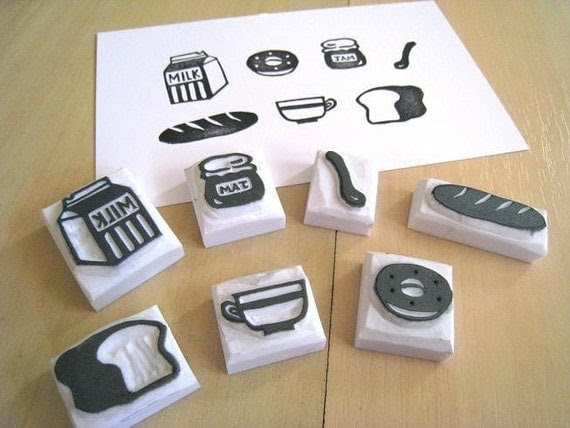 Yummy Breakfast - Set of 7 Handcarved Rubber Stamps