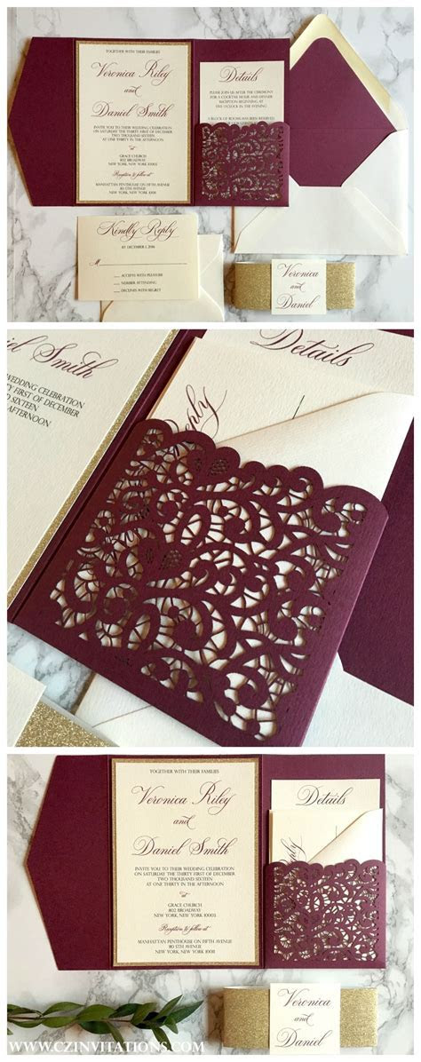 Burgundy and Gold Laser Cut Pocket Wedding Invitation in
