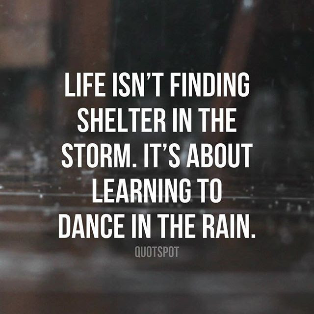 Life Isn T Finding Shelter In The Storm It S About Learning To