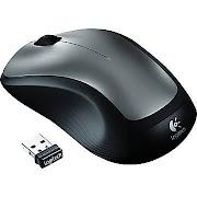 Logitech M310 Wireless Laser Mouse, Ambidextrous, Black/Silver (910-001675)