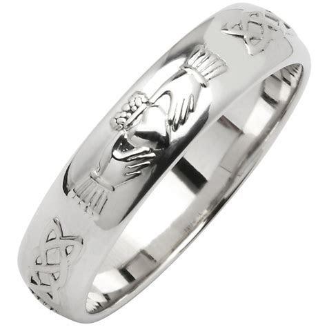 Irish Wedding Ring   Men's Narrow Sterling Silver Claddagh