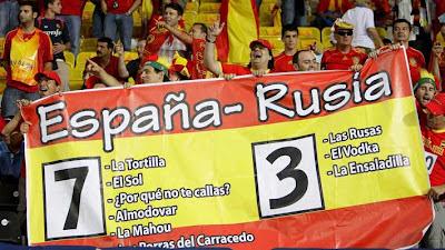 Pancarta da aficción española durante o partido España-Rusia disputado o 26 de xuño de 2008, antes de coñecer o resultado final do encontro