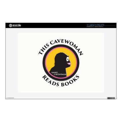 "13"" Laptop Mac/PC Skin Smart Cavewoman Reads Books Skin For Laptop"