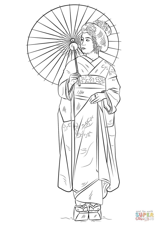Dibujo De Chica Japonesa Con El Vestido Tradicional Para Colorear