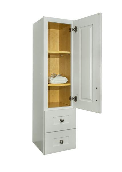 White Linen Cabinet with Wood Door - Semi-custom ...