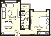 Blue Ridge 1 BHK Slim Fit Home 571 sq.ft.