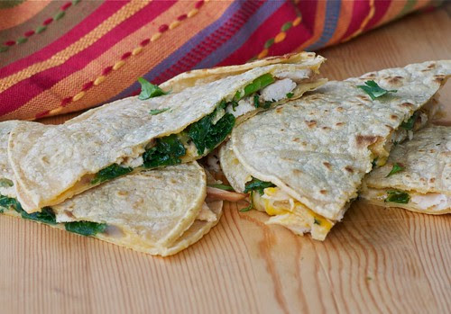 cheesy turkey and kale quesadillas
