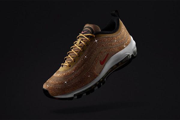 "38c2c0a53b Nike Unveils Swarovski Crystal-Covered ""Metallic Gold"" Air Max 97"