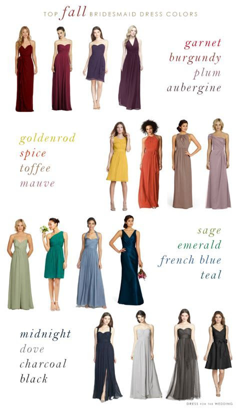Top Colors for Fall Bridesmaid Dresses