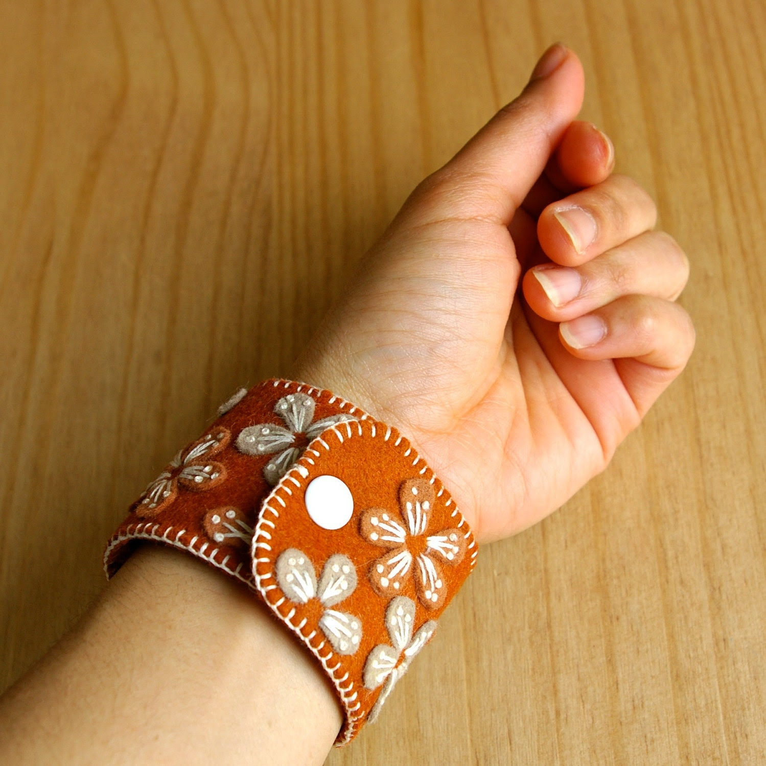 Copper: Wool Felt Cuff/Wristband